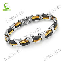Stainless Steel Gold Silver with Rubber Bracelet Link Chain 8.6'' Men's Jewelry