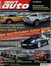 sport auto 4/06 2006 Porsche Boxster S Mazda 6 MPS BMW 330 xi Corvette Z06 Viper