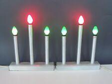 2 Vintage stainless steel candelabra Christmas decor Midcentury 3 light homemade