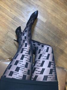 FF SEXY monogram Designer Logo Black Tights Pantyhose Nylons Double F