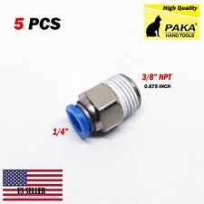 "5pcs Male Straight Connector Tube Od 1/4"" X Npt 3/8 Push In Fitting One Touch"