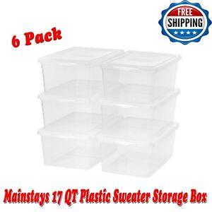 6 Pack Clear 17 QT Plastic Sweater Storage Box Bin Tote Container Home Organizer