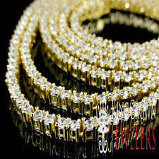 """THIN 2.5 MM 36"""" MEN'S YELLOW GOLD FINISH A++ CZS 1 ROW TENNIS CHAIN NECKLACE NEW"""