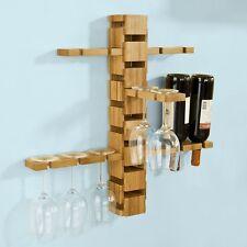 SoBuy Weinregal mit Weinglashaltern,Gläserhalter,Flaschenregal,Wandregal FRG90-N