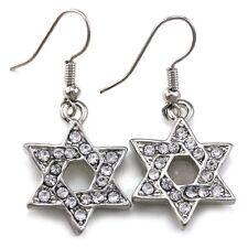 Clear Jewish Star of David Dangle Hoop Earrings Silver Tone Fashion Jewelry q1