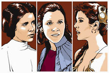 Princess Leia Hope Empire Strikes Return Jedi Star Wars Trilogy Silk Screen Art