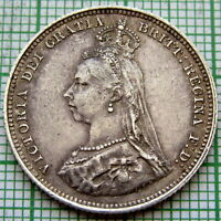 GREAT BRITAIN QUEEN VICTORIA 1887 JUBILEE SHILLING, SILVER PATINA