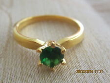 Yellow Gold Filled  Ring with Green Swar Crystal - Size 7
