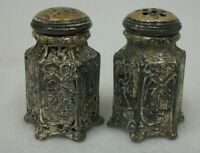 Vintage Small Metal Raised Designs Dutch Holland Scenes Salt and Pepper Shakers