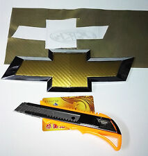 Gold Carbon Fiber Vinyl Around Bowtie Emblems Decal Sheets 2pcs For CHEVROLET