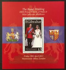 Prince William & Catherine Wedding mnh souvenir sheet 2011 Gibraltar #1283