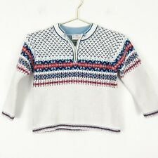Hanna Andersson Boys Sz 110 US 5 Fair Isle Sweater 1/4 Zip Cream Blue Red