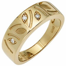 Damen Ring 585 Gold Gelbgold mattiert 3 diamanten brillanten 0 04ct. Goldring
