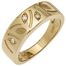 Goldring 3 Diamanten Brillanten 0,04ct. 585 Gelbgold mattiert Damen Ring 39579
