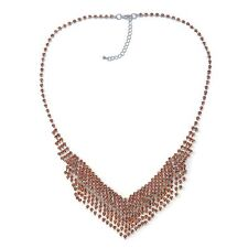 Crystal Fringe Bib Necklace Champagne  Crystal Sparkle PROM