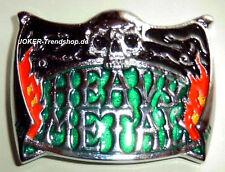 Cintura Fibbia Heavy Metal Cromo Argento Colori Buckle Hard Rock