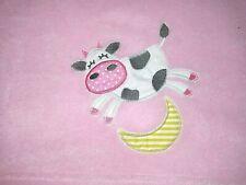 Zak & Zoey Baby Girl Cow Jumping Over The Moon Blanket Fleece Lovey Security Euc
