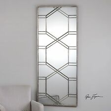 """STATELY 70"""" RICH ANTIQUED SILVER LEAF METAL WALL MIRROR MODERN STYLE"""