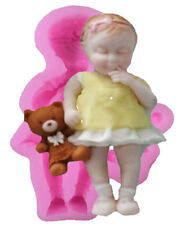 Baby Girl with Stuffed Teddy Bear Silicone Mold for Fondant, Chocolate, Cra