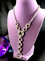 FABULOUS ETIENNE AIGNER SILVER & GOLD-TONE CHAIN NECKLACE TEXTURED RING PENDANT
