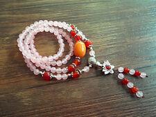 Braccialetto Elastico Lunga Charms Fiore Sole Perla Quarzo Rosa Agata Rosso