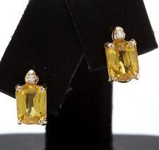 2.69 Carat Natural Ceylon Sapphire & Diamond 14K Solid Yellow Gold Stud Earrings