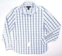 NEW BLOOMINGDALES GRAY PEARL BLUE PLAID GINGHAM BUTTON DOWN DRESS SHIRT SIZE L