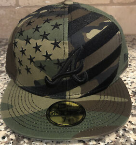59Fifty New Era Fitted HAT ATLANTA BRAVES Camo Stars Stripes MSRP $40 Size 7 5/8