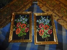 Vintage Needlepoint Floral Picture Wall Hanging Set Of 2 Matching Gold Frames