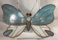 Vintage Stained Glass Butterfly Wall/Window Decor~ Slag Glass, Copper Wire