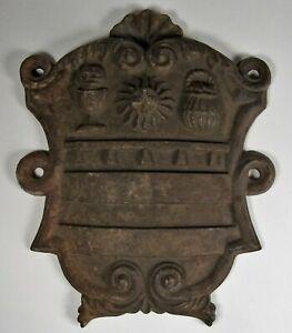 Antique Cast Iron Coat of Arms Plaque