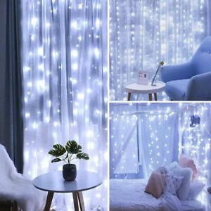 3x3M 300LED Curtain Fairy String Light Garden Chrismas Party Twinkle Lights UK