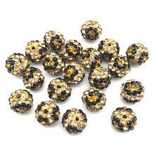 New 10mm Pink Leopard Crystal Rhinestone Shamballa Disco Ball Beads DIY Bracelet
