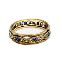 Vintage 9ct Gold Blue Sapphire Eternity Ring London 1965 Size R US 8.75 BOXED