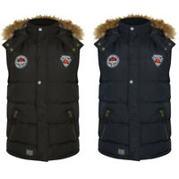 New Mens Tokyo Laundry Lansing Padded Quilted Fur Hooded Gilet Size S - XL