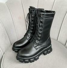 Women's Chunky Heel Lace Ups Round Toe Motorcycle High Top Ankle Boots