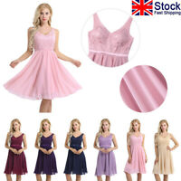UK Women's Chiffon Bridesmaid Cocktail Evening Party Short Maxi Prom Gown Dress