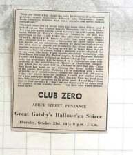 1974 Club Zero, Abbey Street Penzance, Great Gatsby's Halloween Soirée