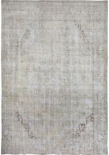 Antique Geometric Muted Tebriz Area Rug Distressed Look Low Pile Carpet 9x12 ft
