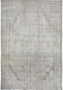 Antique Geometric Muted Tebriz Area Rug Distressed Look Low Pile Carpet 9x12 ft