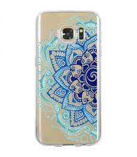 Coque Galaxy S7 Edge Mandala 2 Aztec ethnique Fleur Bleu doodling transparente