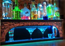 ARCHED STONE LIGHTED LIQUOR BOTTLE DISPLAY 2-WAY COLOR LIGHTING GLASS DISPLAY