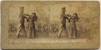 Scena Da Genere La Punizione Da La Donna Francia Foto Stereo Vintage Albumina