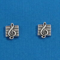 .925 Sterling Silver TREBLE CLEF Musical Post Stud EARRINGS