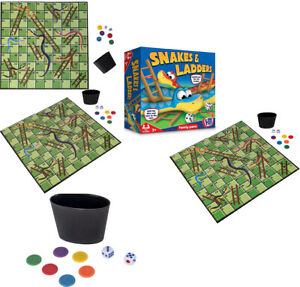 2-4 Player HTI Toys Traditional Snakes Games & Ladders Family Board Game Set New