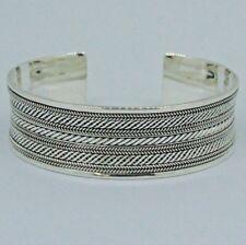 DESIGNER  BALI WIDE BANGLE BRACELET in SOLID 925 Sterling Silver 32.7 Gms #H5