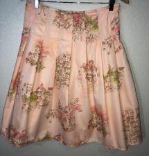 City DKNY Women's Cityscape Peach Pink Pleated Knee Length Flare Skirt Size 4