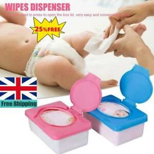 UK-Wet Wipes Dispenser Holder Tissue Storage Box Case With Lid For Home Office