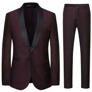 Mens 3PCS Suit Tuxedo Shawl collar Blazer Jacket Vest Pants One Button Formal L