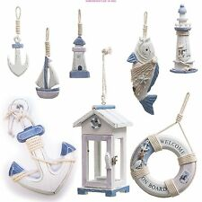 NAUTICAL SHABBY CHIC WOODEN DECORATIONS PLAQUES ORNAMENTS